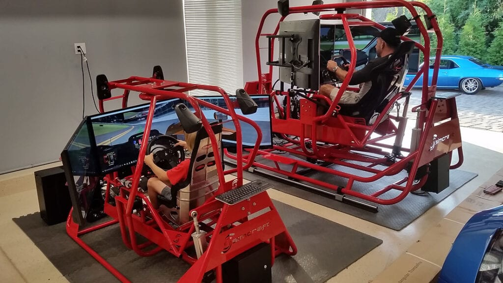 Father and son racing simulators, youth driver development