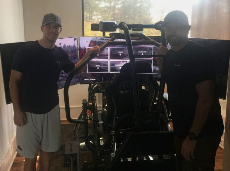 Denny Hamlin and his APEX3 Racing Simulator