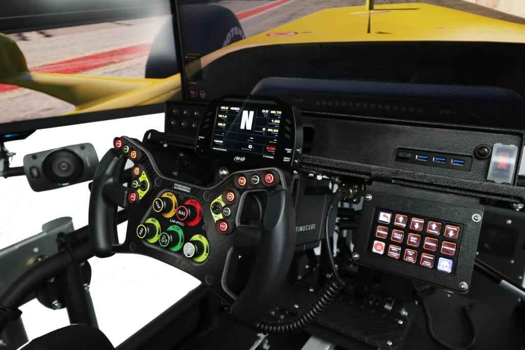SimCraft APEX Pro Racing Simulator Closeup Dashboard DDU Streamdeck