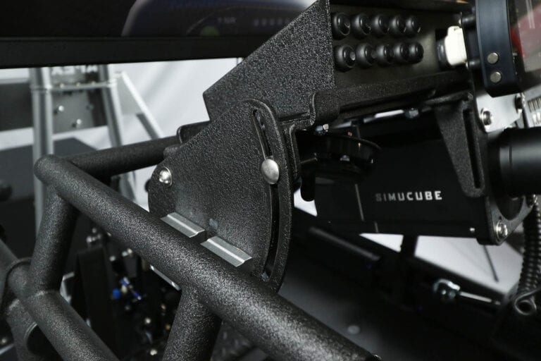 SimCraft APEX Pro Racing Simulator Closeup Tilt and Telescope Adjustment